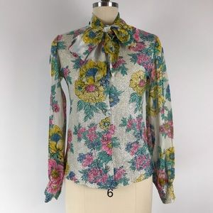 Vintage Secretary Floral Button Up Blouse Bow XS